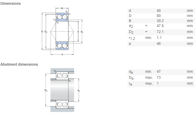 NSK 5208 bearing 5208 double row angular contact ball bearings