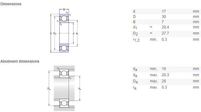 NTN 6903 bearing drawing
