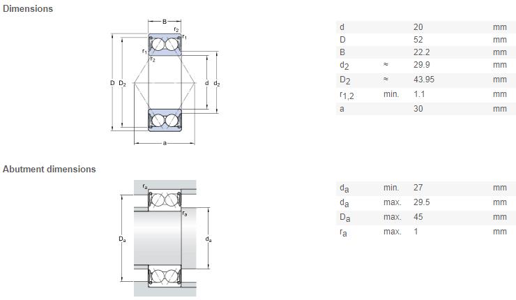 FAG 3304 bearing drawing