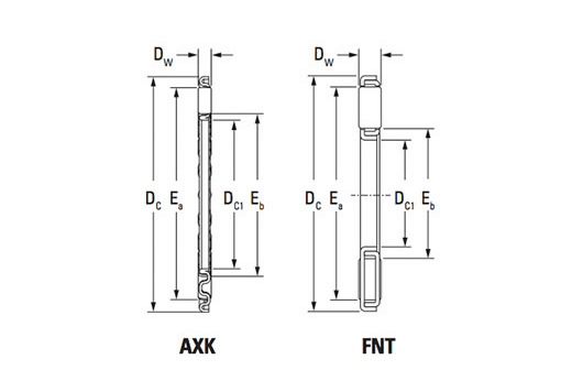 KOYO AXK2035 2AS needle thrust roller bearing drawing