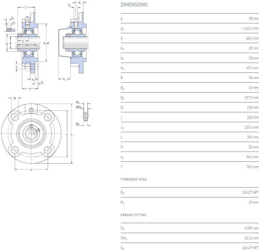 UCFC218 bearing datasheet
